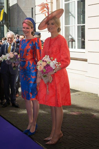 Belgium Queen Mathilde (L) and Dutch Queen Maxima attend the opening of exhibition Vormidable in The Hague, on May 20, 2015, displaying co...
