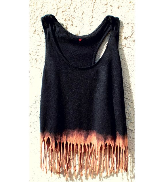 black tank, dip bottom in bleach, cut fringe. This summer