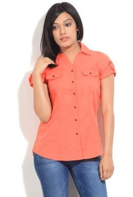 People Women's Solid Casual Shirt