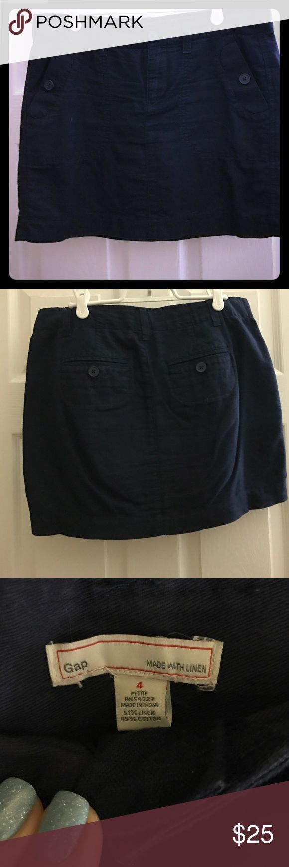 Navy linen skirt Navy linen-blend skirt. EUC. Comes from a smoke free home. GAP Skirts Mini
