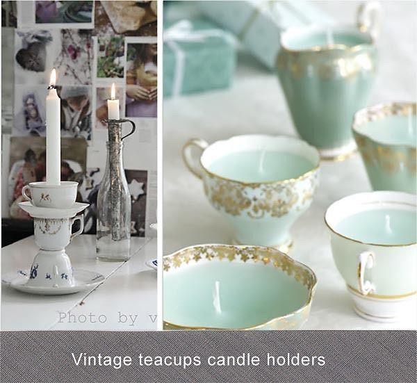 projects idea unique tea cups. tea cup vintage  candle stick cups candles 212 best images on Pinterest Vintage Tea
