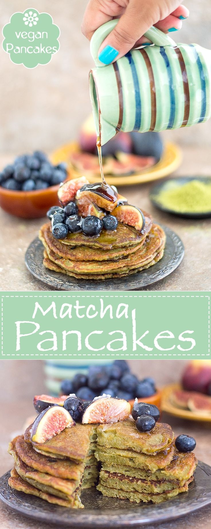 Have You Tried Matcha Green Tea Powder? This is My First Time Using it in a Recipe and Totally Love It! This is now the Best Vegan Pancake Recipe I Have Ever Made! I Topped with Figs and Blueberries Mixed with Agave | Vegan breakfast, vegan brunch, matcha recipes, Easy pancakes, vegan pancakes, vegetarian pancakes
