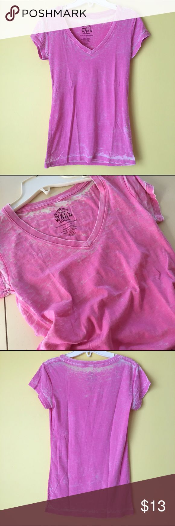 "Distressed Acid Burnout Goth Punk Pink Tee Shirt ! SALE!Distressed Burnout Sheer See-through Vtg Vintage 90s Style Far From Basic Bright Neon Bubblegum Candy Princess Pink Short Sleeve V Neck Fitted Tee Shirt Top  Brand new  NO flaws. ""An Original By Well Worn Los Angeles"". Women's size Small. Could also fit an XS. 50/50 Cotton-Poly blend. ❣ SO soft & comfy!  Has that ""well-loved"", ""worn-in"" feel to it! Lightweight & feels like a dream. ☁️ Sheer. You'll be slaying in this perf top! NO holds…"