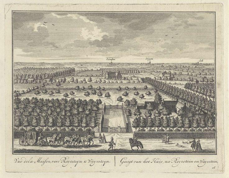 Tuin en landschap bij Kasteel Zuilenstein gezien in de richting van de Betuwe, Daniël Stopendaal, 1682 - 1726