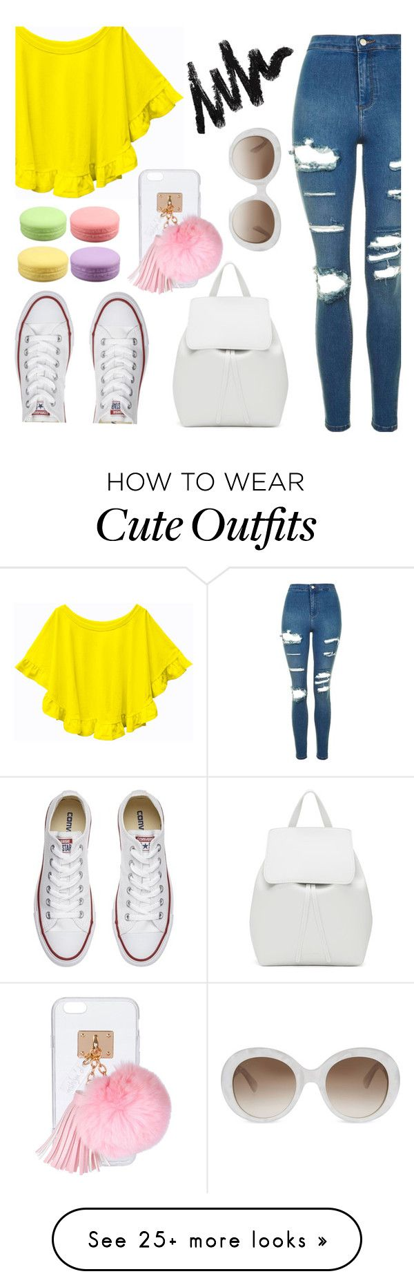 """School outfits"" by totalfashiongirl on Polyvore featuring Topshop, Converse, Mansur Gavriel, Ashlyn'd and Gucci"