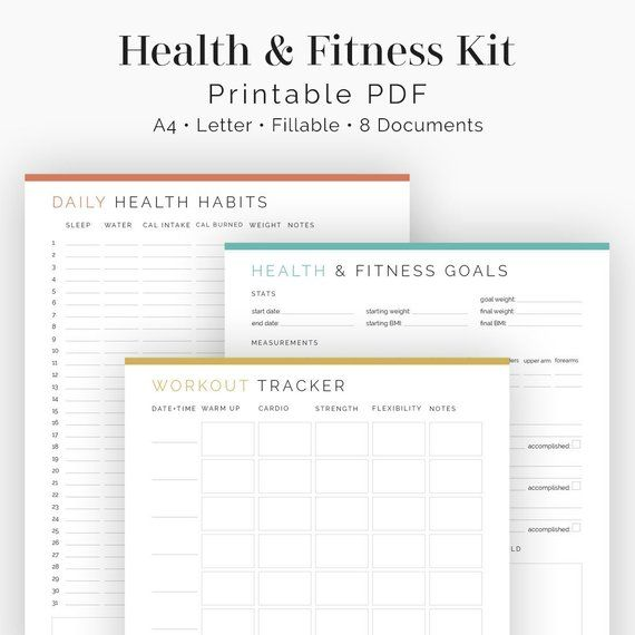 Health and Fitness Kit (8 documents) – Fillable – Printable PDF – Health & Fitness Planner, Workout/Health Tracker – Instant Download