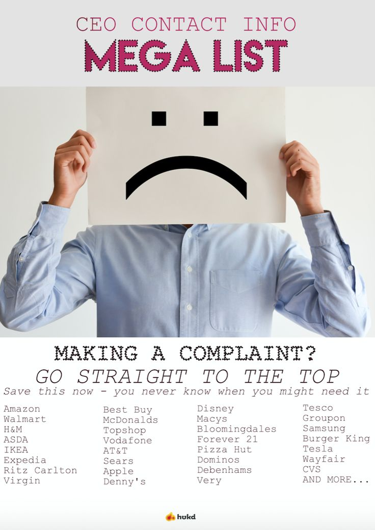 Find the CEO / owner contact information for thousands of huge companies - you need this if you're getting nowhere making a complaint!