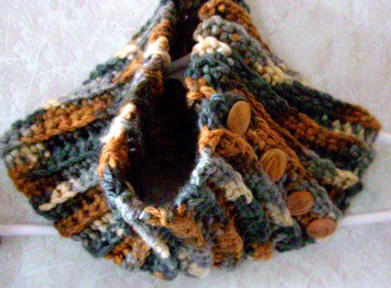 Ladies Cowl Scarf Winter Wooden Button by KrystalzKreations, $35.00