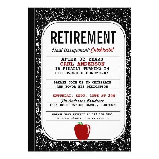 Composition Book Teacher Retirement Party Invitation