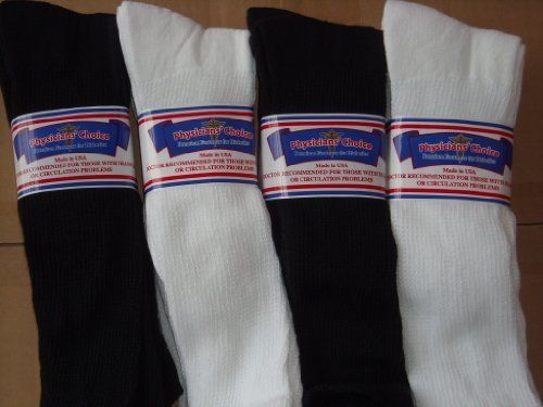 "OVER THE CALF DIABETIC SOCKS, 12 PAIR TOTAL,USA, 6 EACH WHITE AND BLACK COLOR,13-15 PLUS SIZE,PHYSICIANS CHOICE by PHYSICIANS CHOICE. Save 40 Off!. $31.31. 12 PAIR TOTAL OVER THE CALF DIABETIC SOCKS. SOCK SIZE 13-15.OVER THE CALF IS APPROX. 5 "" LONGER THAN THE STANDARD CREW LENGTH. THESE SOCKS HAVE SIDE VENTS FOR COOL COMFORT, AND A PROTECTIVE TOP BAND FOR LONGER LASTING FUNCTIONAL SOCK LIFE. NOTE: A 13-15 SIZE IS THE SOCK SIZE, NOT THE SHOE SIZE.THE 13-15 WILL FIT A STANDAR..."