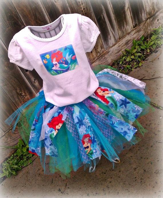 girls disney tutu, ariel tutu dress, ariel birthday party, 24mth/2t ariel tutu dress, rag tutu, toddler spring tutu, rag skirt. $50.00, via Etsy.