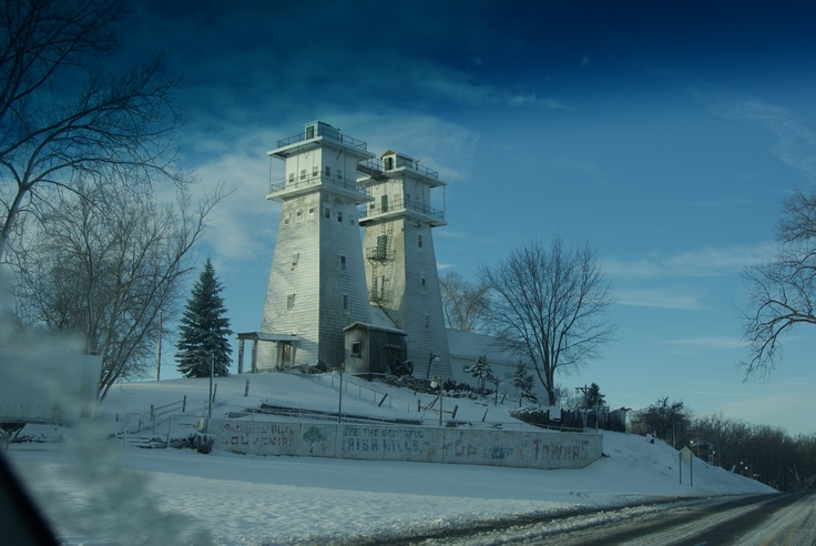 Irish Hills of Brooklyn Michigan.   We always vacationed at Wamplers Lake, and we would walk up these towers....spite towers we called them.  you write name on walls.