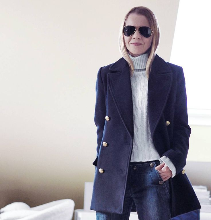 "116 Likes, 4 Comments - Gabriella Buzas (@epicstreetstyle) on Instagram: ""Winter is ending 🔮 Have fun with those coats while you can . ."" sailor minimal coat navy matelot denim aviators outfit ootd wiw"