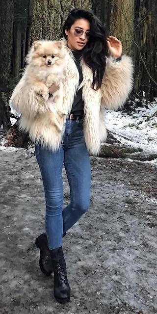 Shay-Mitchell-instagram-faux-fur-javket-jeans