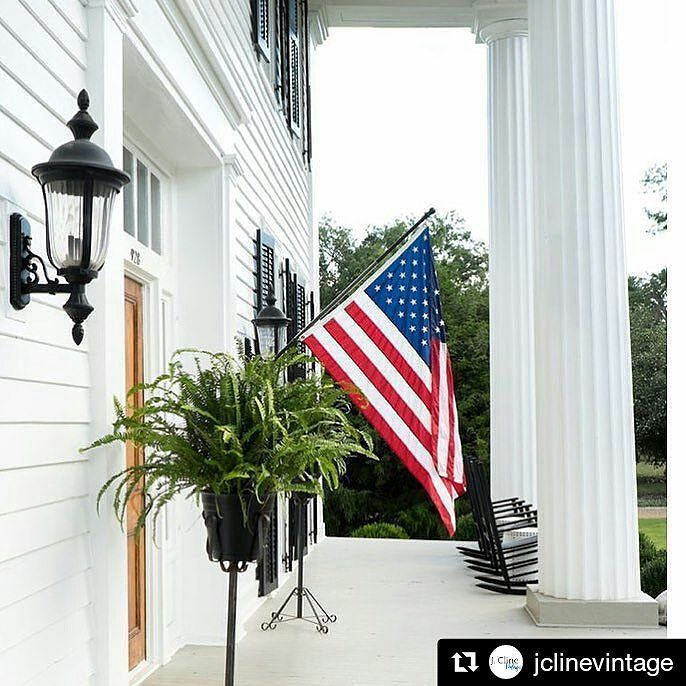 It's Independence Day!  #Repost @jclinevintage (@get_repost)  Greek Revival and an American flag. Conjures up images of front porch sittin mint julep drinkin and firework watchin. Happy 4th of July my friends. Let freedom ring!  Have a wonderful day. (Pic from Atlanta Homes) #jclinevintage #july4th #freedom #godblessamerica #independenceday
