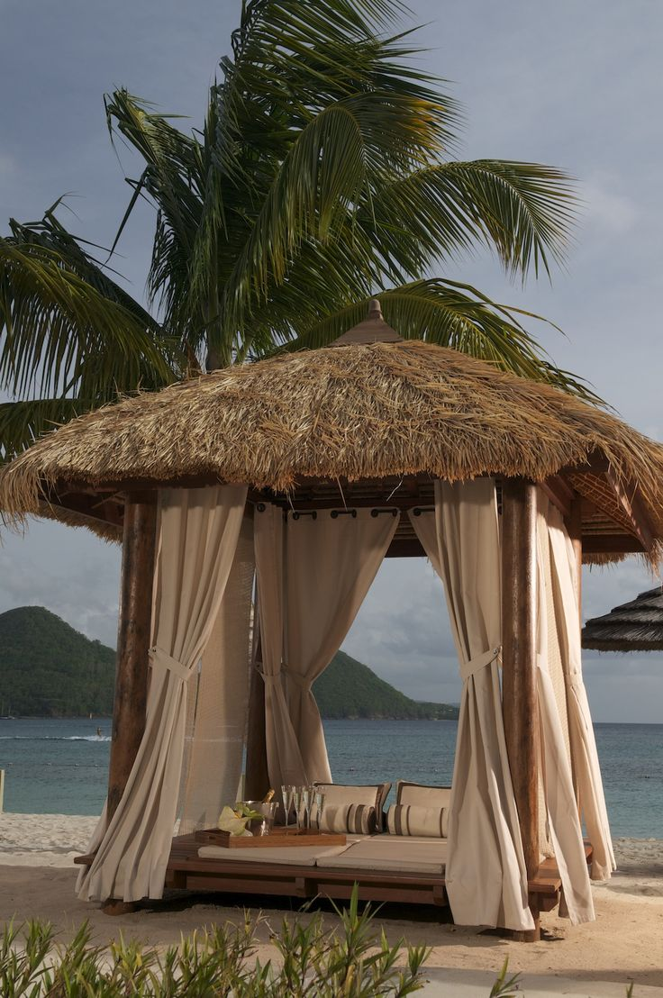 Private cabanas on the beach #sandalsgrandestlucian