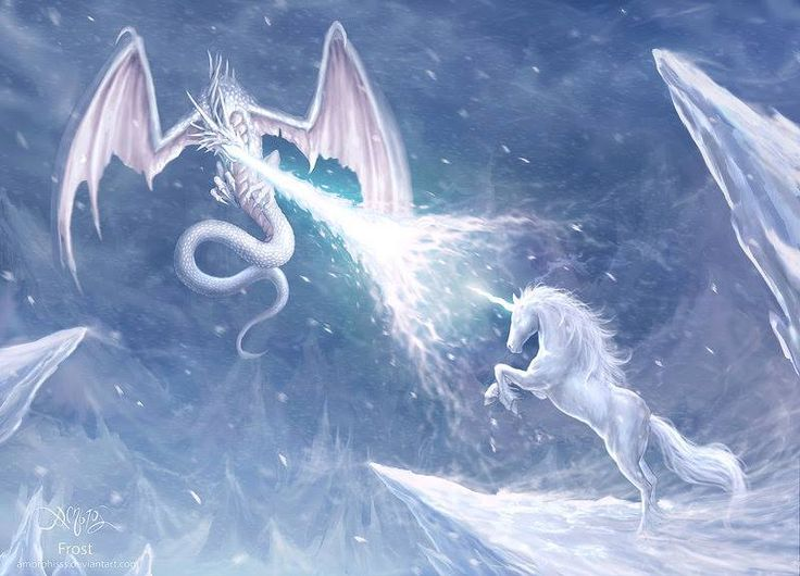 Snow Dragon vs Unicorn beautiful picture | Myths, Magic ...