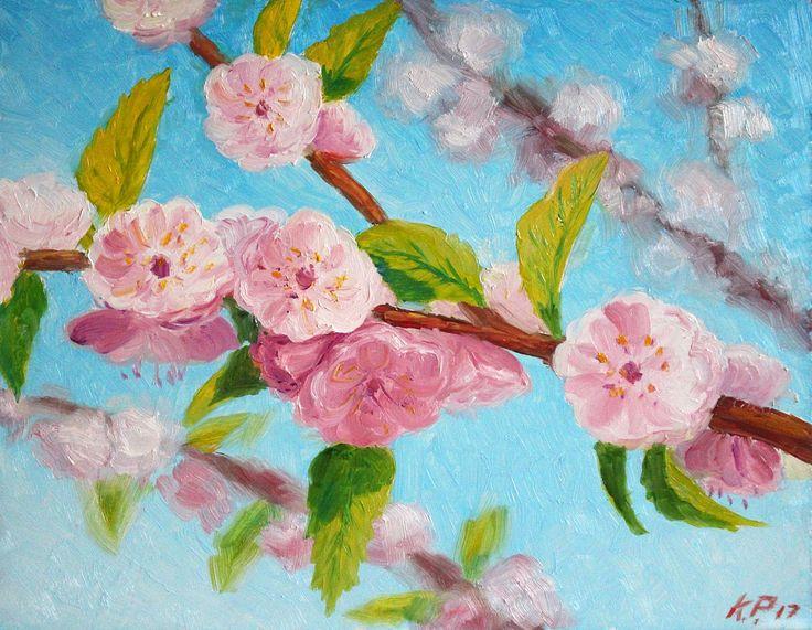 🌿 Цветущая вишня    (Грунтованный оргалит, масло. Размеры 24*30) Написано по фотографии.