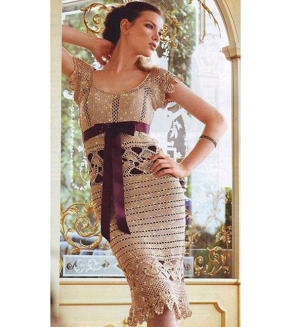 Crochet cocktail dress PATTERN, detailed description in ENGLISH for every row, engagement crochet dress pattern, sexy crochet dress PATTERN.