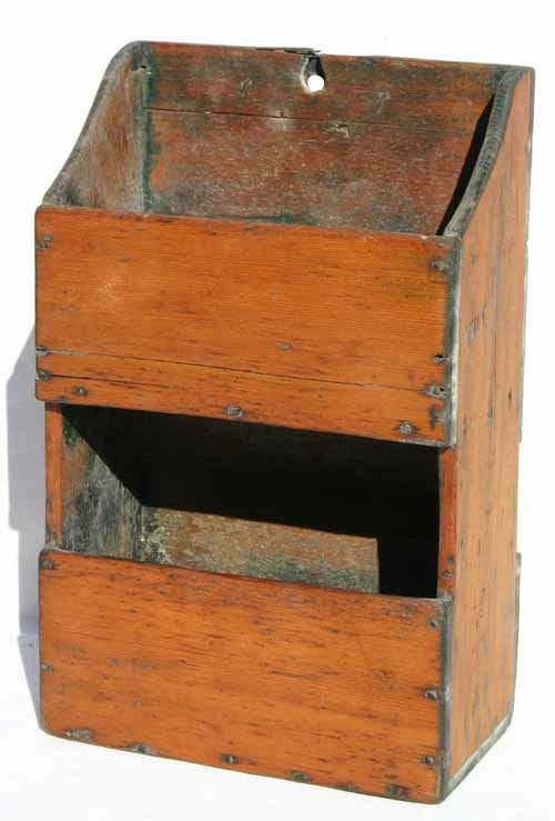 early 19thC New England pine double wall box w remants of Windsor green paint