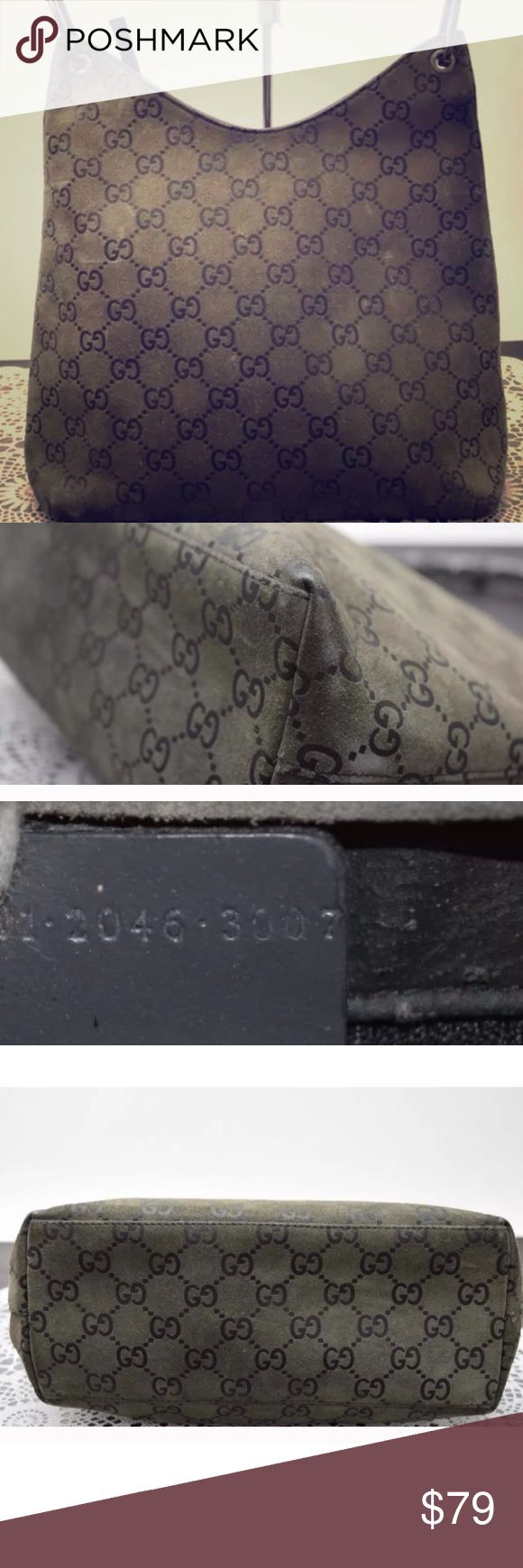"""authentic GUCCI suede bamboo handle 100% authentic olive suede green Gucci bag with bamboo handle. Preowned with some scuff marks on the suede as shown in photos, some chipping off paint on the bamboo. This is a cute bag with lots of life left !! Measures approximately 10 x 11 x 4"""". Price reflects condition of the bag Gucci Bags"""
