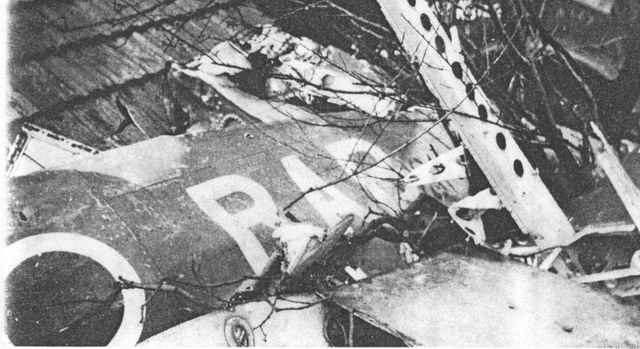 What's left of Wing Commander Rolf Arne Bergs Spitfire, Feburary 1945. Berg was shot down tour-expired +1 sortie.