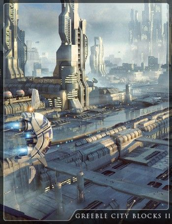 Greeble City Blocks 2 by Stonemason.  Inspiring CG product for a futuristic scene.
