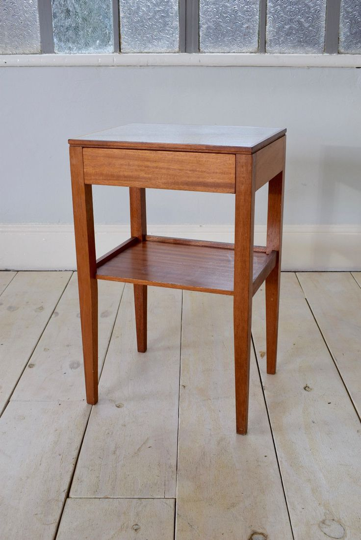 Vintage Mid Century Bedside Table Occasional Teak Table   Remploy photo 1