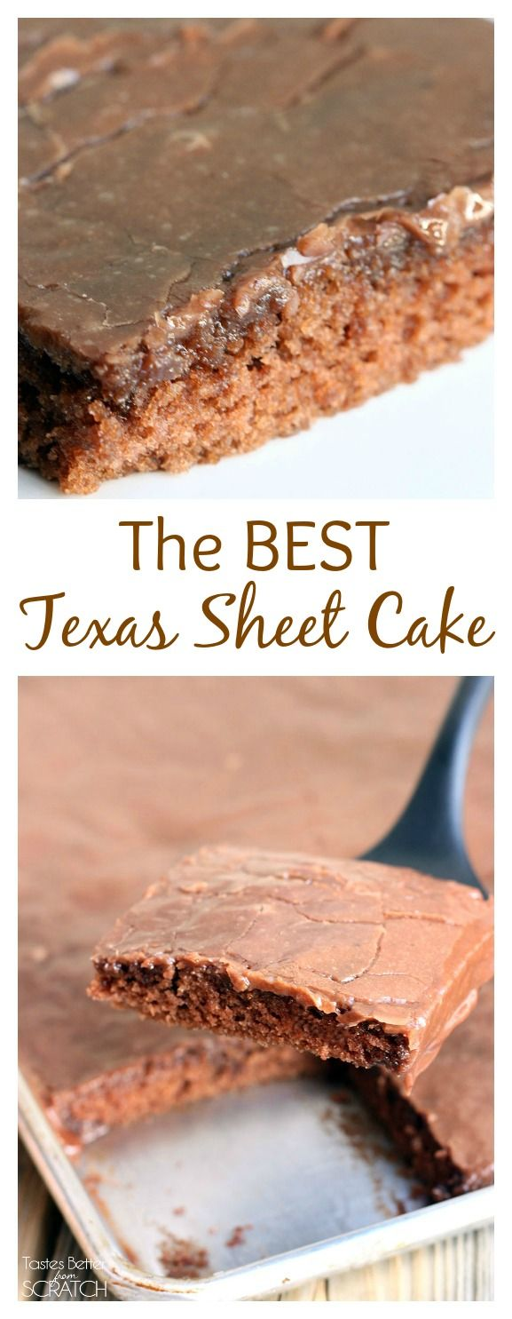 The BEST Texas Sheet Cake! Any EASY, moist, homemade chocolate cake with warm chocolate frosting that melts in your mouth! Recipe from TastesBetterFromScratch.com