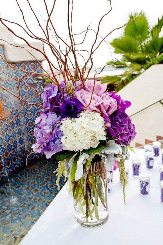 Beautiful PURPLE HYDRANGEA WAS INSANE! LOVE THE DUSTY MILLER AND CURLY WILLOW.