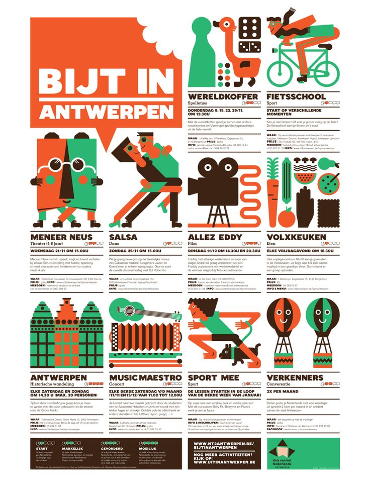 This lovely poster embraces dense content and uses a well-organized grid, a simple colour scheme, and lovely illustration to create a bold event poster. via @Bobby Solomon