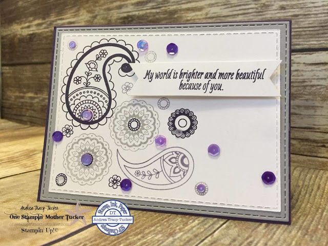 One Stampin' Mother Tucker: Stamp Ink Paper 60 Color Challenge, Elegant Eggplant, Smoky Slate, Wisteria Wonder, Paisleys & Posies, Gina Marie Designs, Holiday Catalog 2016