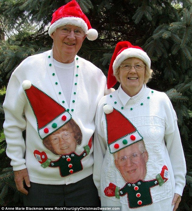 Need to make these for Christmas next year! - Husband and wife rejoice: This couple have used photographs of each other to craft their outfits