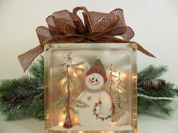 Lighted Glass Block Snowman 8 x 8 x 3 Hand Painted