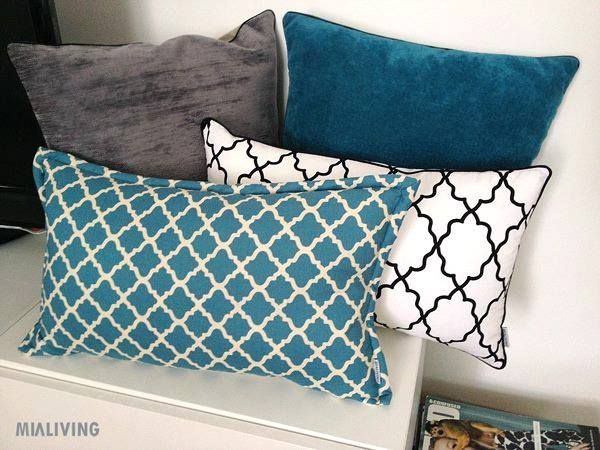 Mialiving moroccan pattern black white blue turquise velvet pillows #MIALIVING #pillows