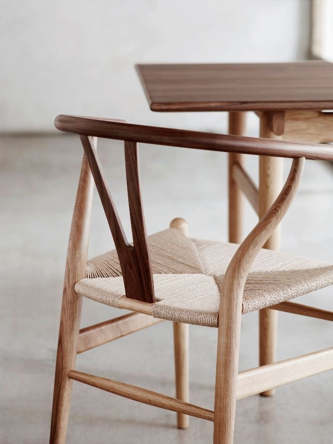 #wishbonechair #hansjwegner Iconic Wegner chairs feature new wood combination! Wegner's profound understanding of the properties of wood are expressed in new oak-and-wa...