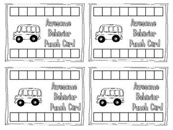 BEHAVIOR PUNCH CARDS FOR CLASSROOM MANAGEMENT - TeachersPayTeachers.com