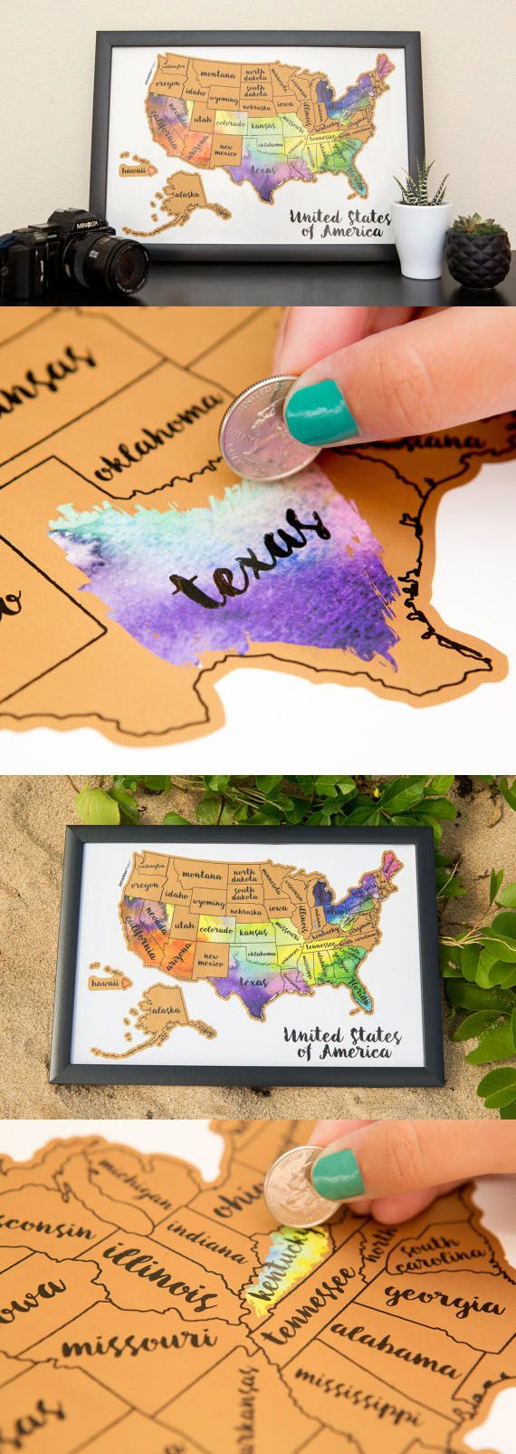 I need this  Scratch your travels with this gorgeous original watercolor USA map. Bright, bold & interactive wall art that will fit any 12x18 size frame. Use a coin to scratch off the foil to reveal the bright colors of the states you've visited http://seattlestravelshop.com/shop/united-states-watercolor-scratch-map/