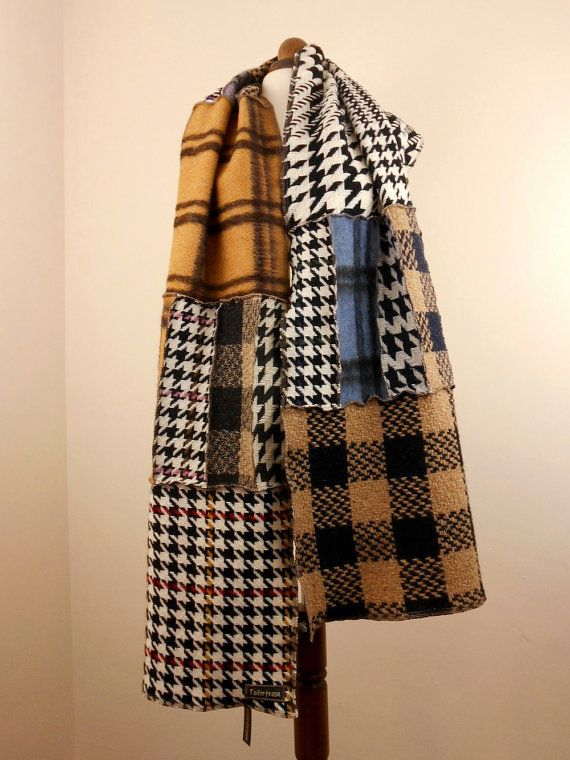 Upcycled Giant Check Scarf Shawl Wrap / Recycled Wool Mix Scarf Snood / Oversize Patchwork Check Scarf Wrap