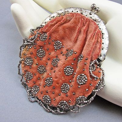 Antique Beaded Purse Cut Steel Pink
