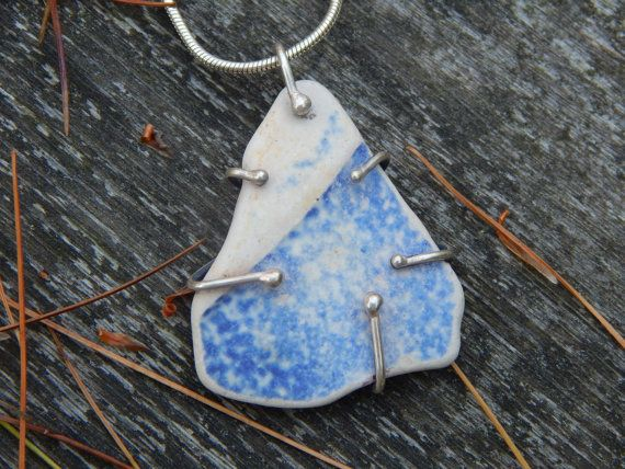 Beach Find Pottery Shard with Blue and White Necklace by thegildedlilystore $55.00 thegildedlilystore