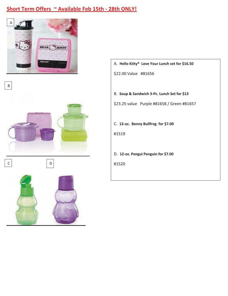 Cute Tupperware Savings for the next 2 weeks only. All can be found on my website www.mytupperware.com/karendol