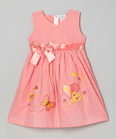 Look at this #zulilyfind! Coral Hearts A-Line Dress - Toddler & Girls by Littoe Potatoes #zulilyfinds
