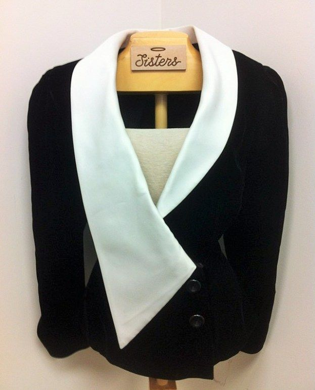vintage Huey Waltzer jacket (size 12) in velveteen with a satin collar