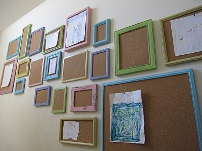 Bulletin Board Frames Wall from Shannon Makes Stuff. Frame cork board to have a changing art gallery wall of kid's art work. Could also do to easily change out seasonal decor or inspirational quotes, etc. Just remove glass from picture frames & adhere cork board.