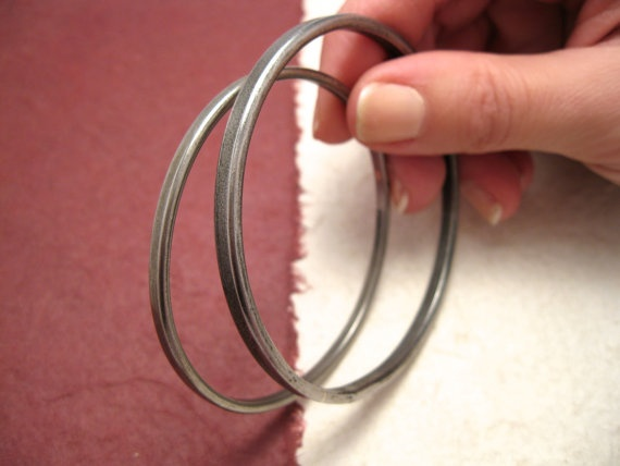 Flat Iron Bangle  rigid bracelet with round hoop by daganigioielli, $18.50