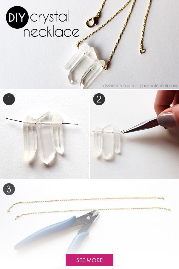 Raw crystals and gems are unique and beautiful, especially when they're used in jewelry. Check out this easy necklace DIY. #divinecaroline #DIY #jewelry