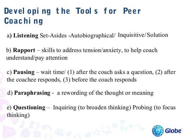 """Devel opi ng t he Tool s f orCoachi ng:  d) ParaphrasingNote: begin paraphrasing with """"So, you"""" and then repeat the conten..."""