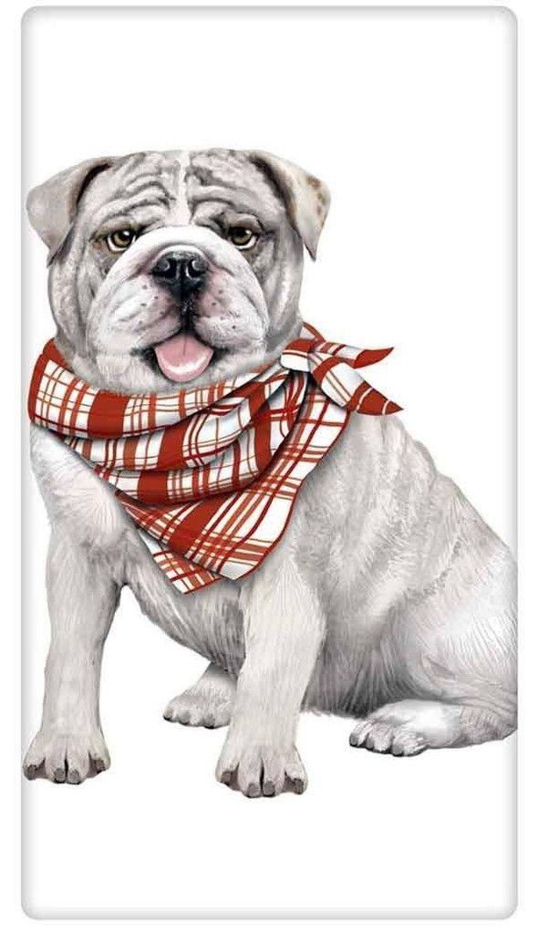 Bandana English Bulldog Dog 100% Cotton Flour Sack Dish Towel Tea Towel