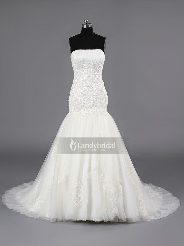 ウェディングドレス マーメイド ビスチェ ソフトチュール コートトレーン アイボリー レース H7lblb2448 価格 ¥82,404